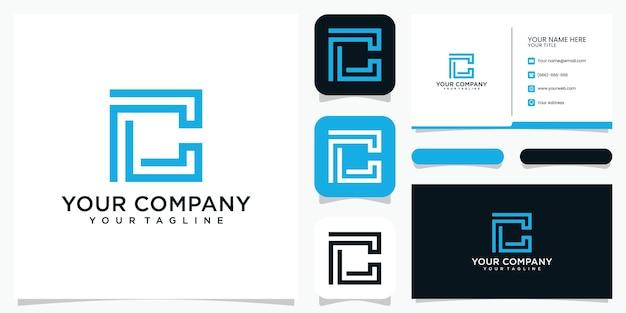 Modelo de ícone de design de logotipo criativo c e cartão de visita