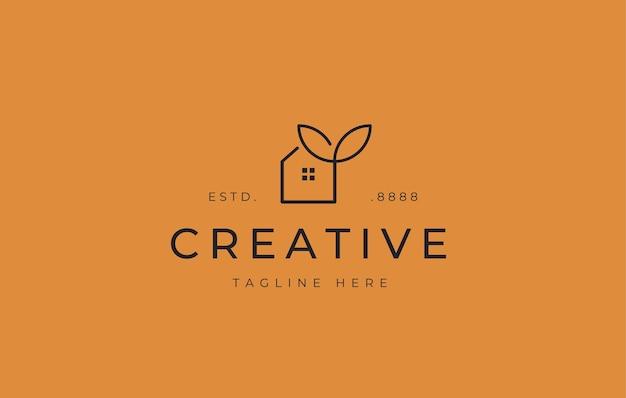 Modelo de ícone de design de logotipo de folha de casa ecológica