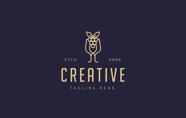 Modelo de ícone de design de logotipo em taça de jantar de vinho