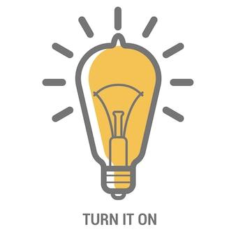 Modelo de ícone de lâmpada de bulbo elétrico para pôster da ideia criativa nova brilhante