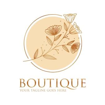 Modelo de ícone de logotipo de boutique de flores