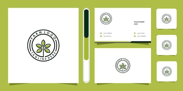 Modelo de ícone de logotipo de fazenda e cartão de visita.