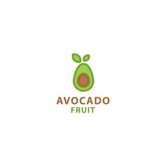 Modelo de ícone de logotipo de fruta abacate