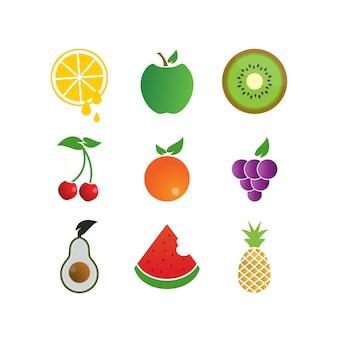Modelo de ícone de logotipo de frutas coloridas