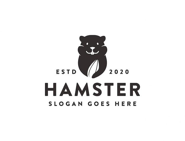Modelo de ícone de logotipo de lanche de sementes de hamster e melancia