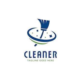 Modelo de ícone de logotipo de serviço de limpeza e zelador com vassoura brilhante