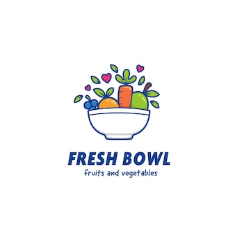 Modelo de ícone de logotipo de tigela de suco fresco de frutas e vegetais
