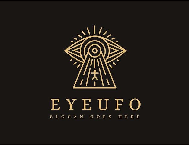 Modelo de ícone de logotipo de ufo lineart olho místico