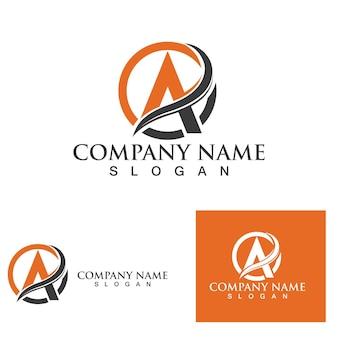 Modelo de ícone de logotipo de uma carta