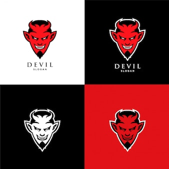 Modelo de ícone de logotipo do diabo vermelho