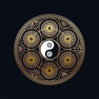 Modelo de ícone de meditação com dourado yin yang cadastre-se no contorno de mandala em ilustração vetorial linear de fundo preto. projeto símbolo oriental tradicional. cultura asiática e conceito de equilíbrio
