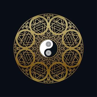 Modelo de ícone de meditação com ouro yin yang cadastre-se no contorno de mandala em ilustração vetorial linear de fundo preto. projeto símbolo oriental tradicional. cultura asiática e conceito de equilíbrio