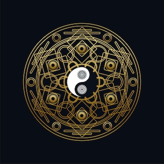 Modelo de ícone de meditação com sinal dourado yin yang na mandala