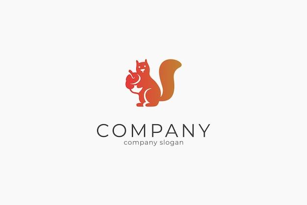 Modelo de ícone de vetor de logotipo de esquilo minimalista moderno