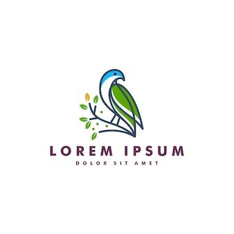 Modelo de ícone de vetor de logotipo de folha de pássaro download
