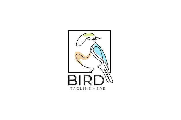 Modelo de ícone de vetor de logotipo de pássaro. estilo de design de arte de linha