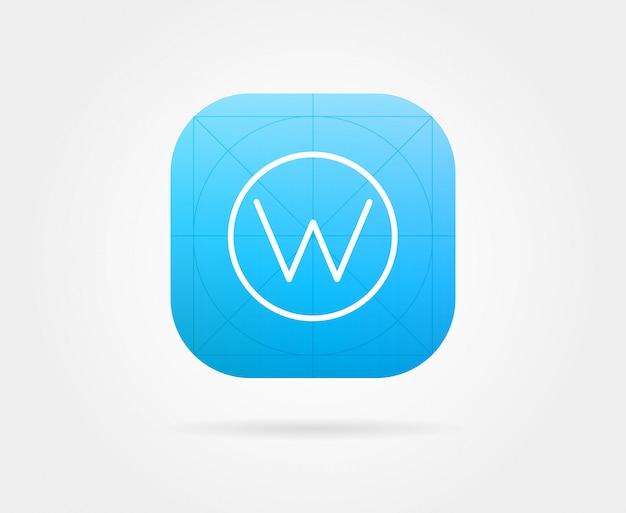 Modelo de ícone do aplicativo com orientações. cor fresca
