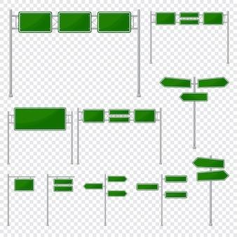 Modelo de ícone em branco sinal de estrada verde