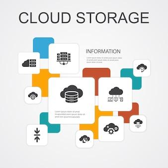 Modelo de ícones de 10 linhas de infográfico de armazenamento em nuvem. backup em nuvem, data center, armazenamento híbrido, ícones simples de compactação de dados