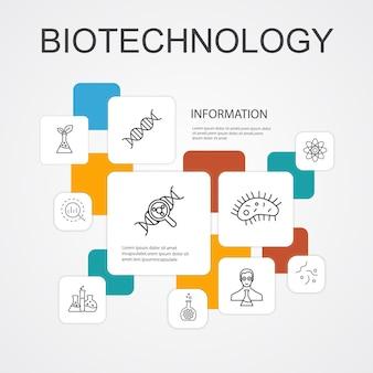 Modelo de ícones de 10 linhas de infográfico de biotecnologia. ícones simples de dna, ciência, bioengenharia, biologia