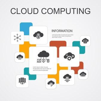Modelo de ícones de 10 linhas de infográfico de computação em nuvem. backup em nuvem, data center, saas, ícones simples de provedor de serviços