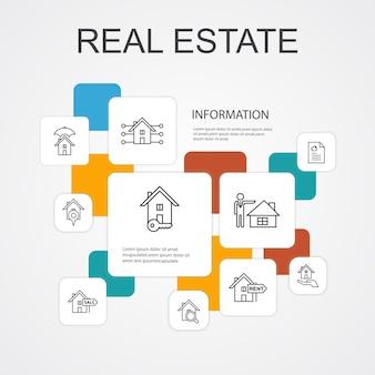 Modelo de ícones de 10 linhas de infográfico de imóveis. ícones simples de propriedade, corretor de imóveis, localização, propriedade para venda