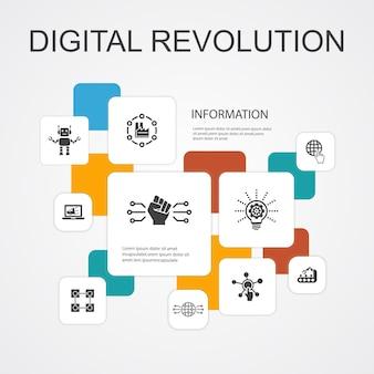 Modelo de ícones de 10 linhas de infográfico de revolução digital. internet, blockchain, inovação, ícones simples da indústria 4.0