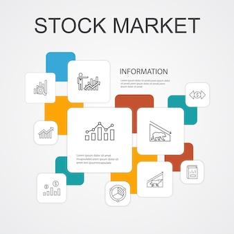 Modelo de ícones de 10 linhas de infográfico do mercado de ações. corretor, finanças, gráfico, ícones simples de participação de mercado