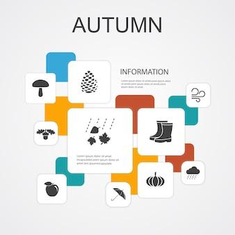 Modelo de ícones de 10 linhas infográfico de outono. porca de outono, chuva, vento, ícones simples de abóbora
