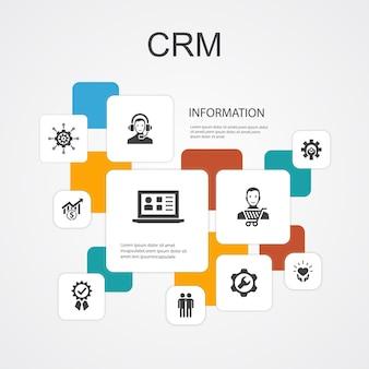Modelo de ícones de linha crm infographic 10. cliente, gestão, relacionamento, ícones simples de serviço