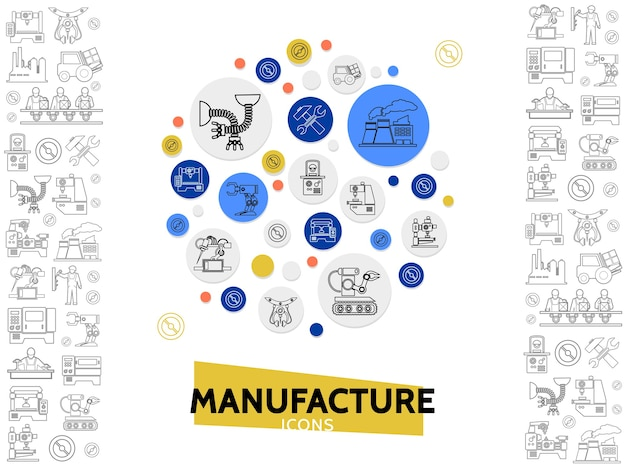 Modelo de ícones de linha de fabricação com equipamento industrial de engenheiro de empilhadeira de martelo de chave de planta
