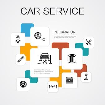 Modelo de ícones de linha de infográfico de 10 serviços para automóveis. freio de disco, suspensão, peças de reposição, ícones simples de transmissão