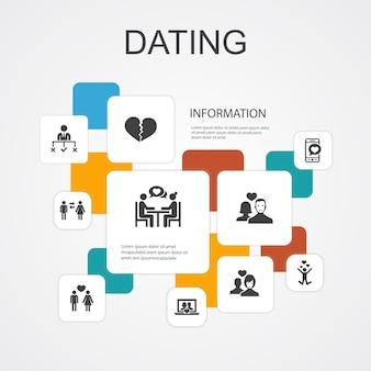 Modelo de ícones de linha infográfico 10 namoro. casal apaixonado, apaixonar-se, aplicativo de namoro, ícones simples de relações