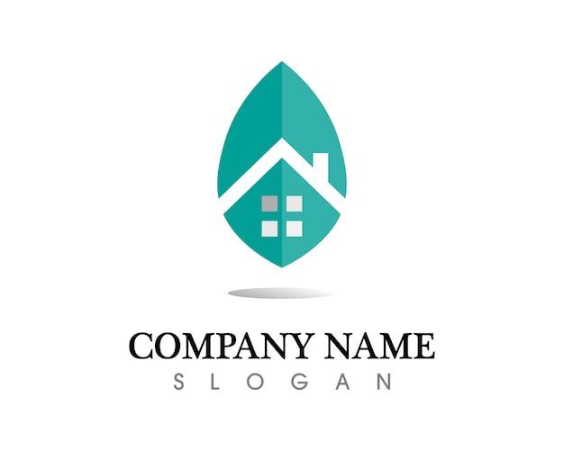 Modelo de ícones de logotipo de imóveis e edifícios residenciais