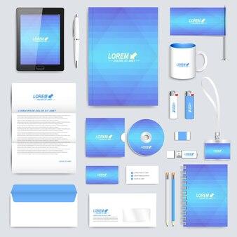 Modelo de identidade corporativa azul