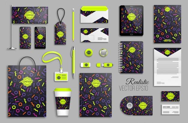 Modelo de identidade corporativa com formas geométricas de cor neon abstraem base