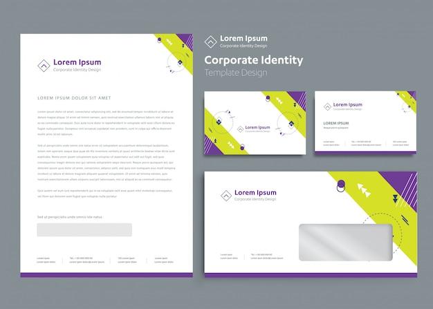Modelo de identidade corporativa de negócios de papelaria clássico