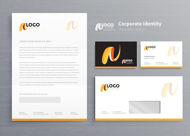 Modelo de identidade corporativa de negócios de papelaria