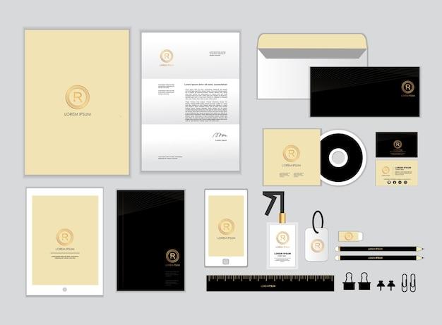Modelo de identidade corporativa de ouro e preto para o seu negócio