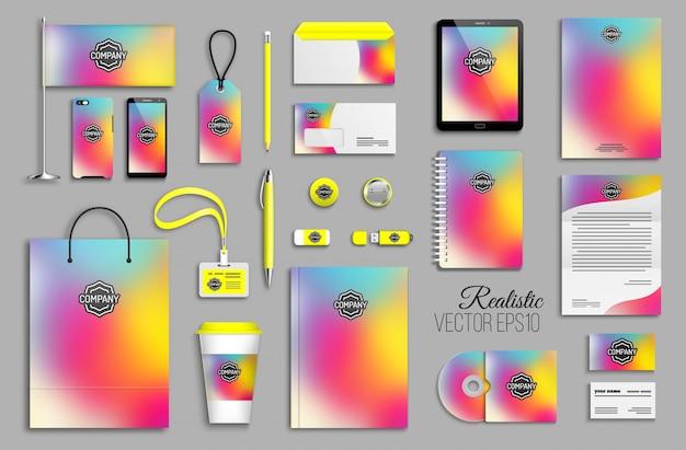 Modelo de identidade corporativa definido com fundo holográfico colorido abstrato. artigos de papelaria comerciais com logotipo. design criativo de marca na moda