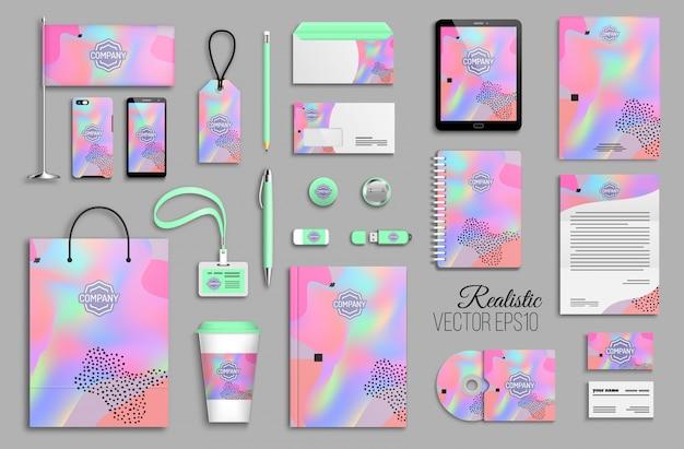 Modelo de identidade corporativa definido com fundo holográfico colorido abstrato. maquete de artigos de papelaria comercial com logotipo. design criativo de marca na moda