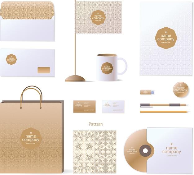 Modelo de identidade corporativa. elementos de design e logotipo. estilo dourado.