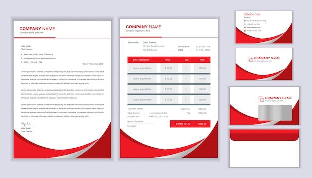 Modelo de identidade corporativa. modelo de design de papelaria com modelo de papel timbrado, fatura, envelope e cartão de visita.