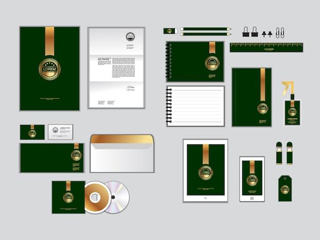 Modelo de identidade corporativa verde e amarelo