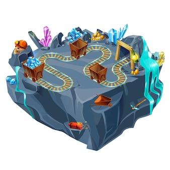Modelo de ilha de jogo de mineração isométrica