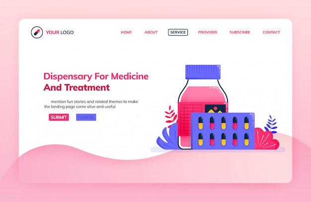Modelo de ilustração da página de destino do dispensário para medicamentos e tratamentos.