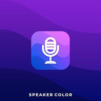 Modelo de ilustração de aplicativo de ícone móvel de microfone