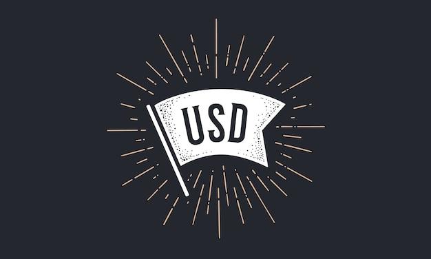 Modelo de ilustração de banner de bandeira usd