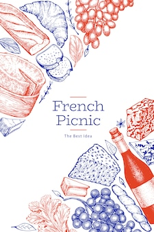 Modelo de ilustração de comida francesa. ilustrações de refeição de piquenique de mão desenhada. vinho e lanche diferente estilo gravado.