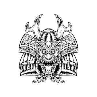 Modelo de ilustração de desenho de mão de cabeça de samurai